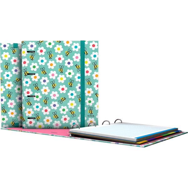 Forrado. CarpeBook DIN-A4 Elena Corredoira / Flores - Ντοσιέ Α4 με 4 κρίκους